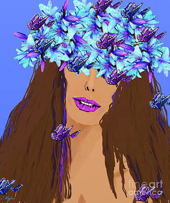 Painting - Woman And Flowers In Her Hair by Saundra Myles