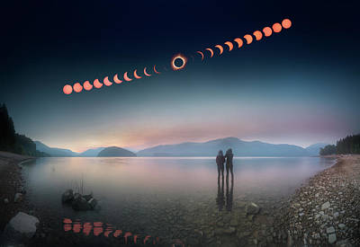 Woman And Girl Standing In Lake Watching Solar Eclipse Art Print