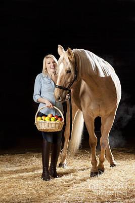 Horses Photograph - Woman And Horse With Apples by Wolfgang Steiner