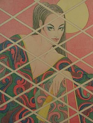 Woman And The Moon Art Print by Gary Kaemmer