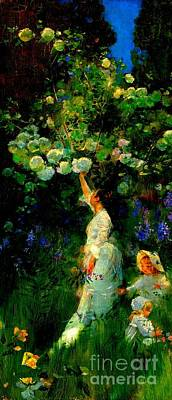 Painting - Woman And Two Children In A Garden Picking Flowers 1889 by Peter Gumaer Ogden Collection