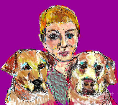 Digital Art - Woman And Two Dogs by Joyce Goldin