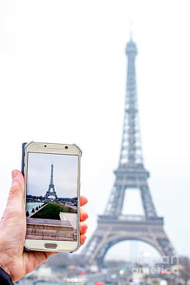 Woman Anonymous Photographing The Eiffel Tower. Paris. France. Europe. Art Print