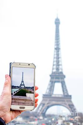 Woman Anonymous Photographing The Eiffel Tower. Paris. France. Europe. Art Print by Bernard Jaubert