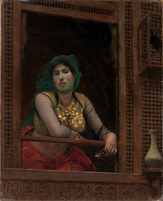 Jean-leon Gerome Painting - Woman At A Balcony by Jean-Leon Gerome