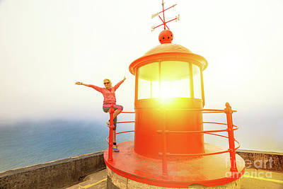 Photograph - Woman At Nazare Lighthouse by Benny Marty