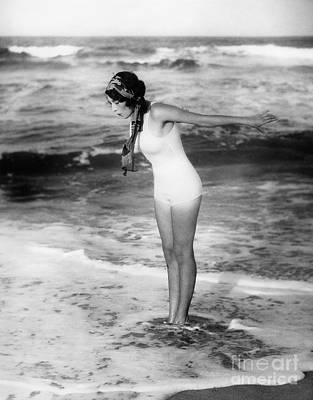 Photograph - Woman At The Beach, C.1920s by H Armstrong Roberts and ClassicStock
