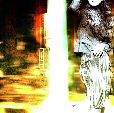 Woman At The Crosswalk  Art Print