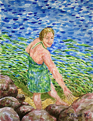 Painting - Woman At The River by Bonnie Follett