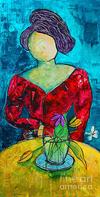 Painting - Woman At Yellow Table by Nicole Philippi