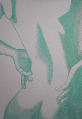 Art Print featuring the drawing Woman Back Green by Fanny Diaz