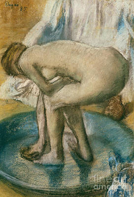 Pastel - Woman Bathing In A Shallow Tub, 1885  by Edgar Degas