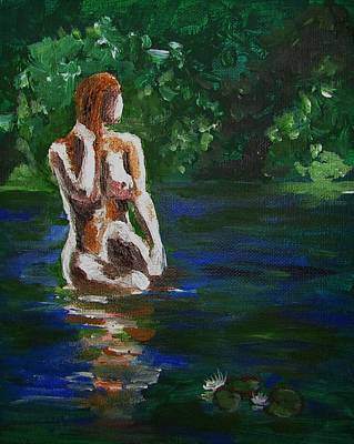 Woman Bathing In Lake Art Print by Regina WARRINER