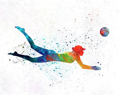 Woman Beach Volley Ball Player 01 In Watercolor Art Print by Pablo Romero