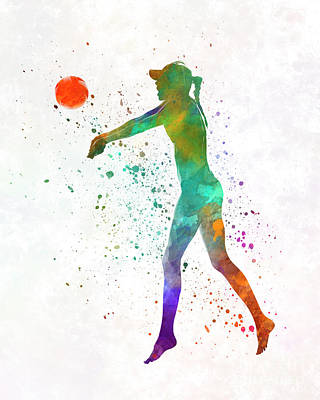 Woman Beach Volley Ball Player 02 In Watercolor Art Print by Pablo Romero