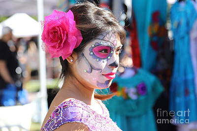 Dia De Los Muertos Photograph - Woman Beautiful Day Of The Dead  by Chuck Kuhn