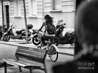 Bama Photograph - Woman Bicycle Backpack Bw by Chuck Kuhn