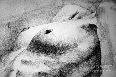 Drawing - Woman Body Figure Pencil Drawing Close Up Detail by Dimitar Hristov