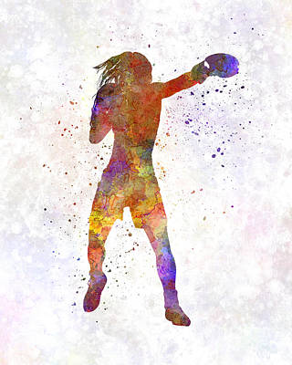 Woman Boxer Boxing Kickboxing Silhouette Isolated 03 Art Print