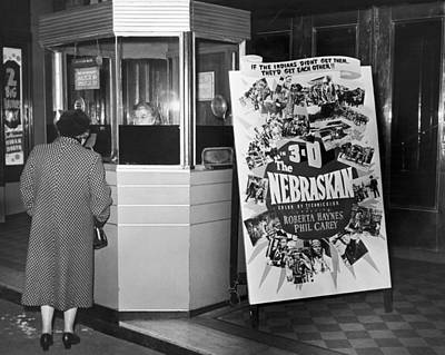 Woman Buying Movie Ticket Art Print by Underwood Archives