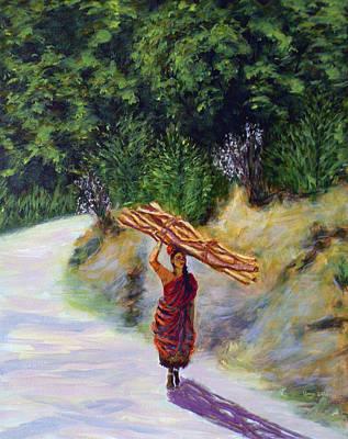 Tamilnadu Painting - Woman Carrying Firewood by Uma Krishnamoorthy