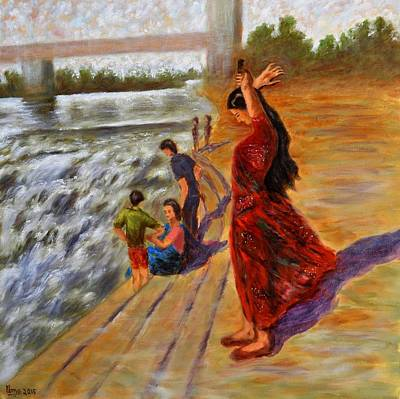 Woman Combing Her Hair Art Print by Uma Krishnamoorthy