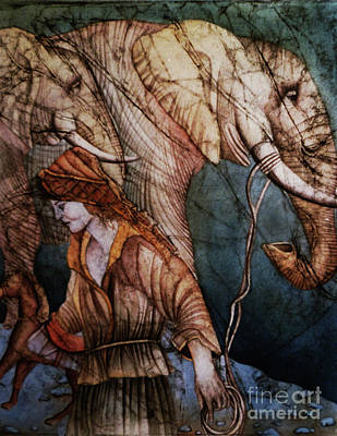 Wall Art - Drawing - Woman Contemplating A Wooden Horse While Leading Elephants by Carole Lindberg