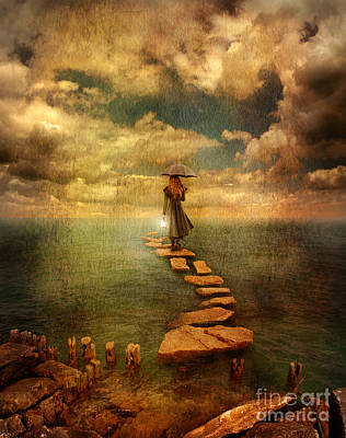 Woman Crossing The Sea On Stepping Stones Print by Jill Battaglia