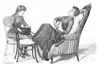 Woman Demonstrating Medical Vibrator Art Print