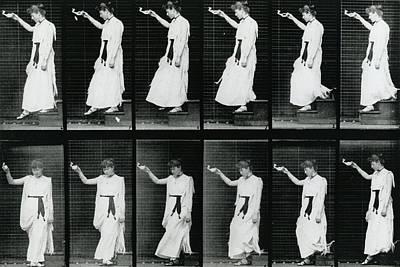 Motion Poster Photograph - Woman Descending A Stairway by Eadweard Muybridge