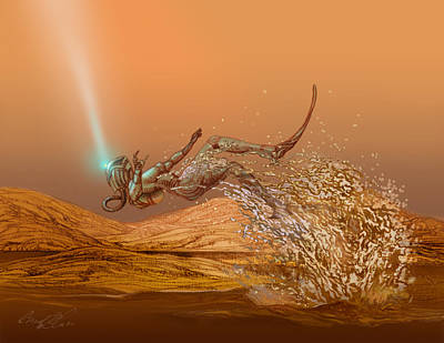 Earth Star Drawing - Woman Diver Emerges From A Lake On Titan by Chad Glass