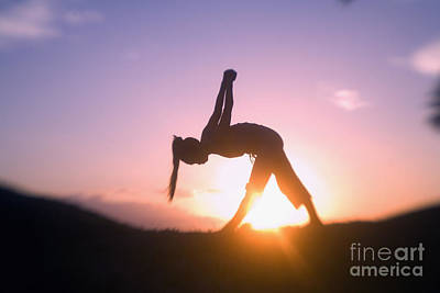 Woman Practicing Yoga Photograph - Woman Doing Yoga At Sunset by Ron Dahlquist - Printscapes