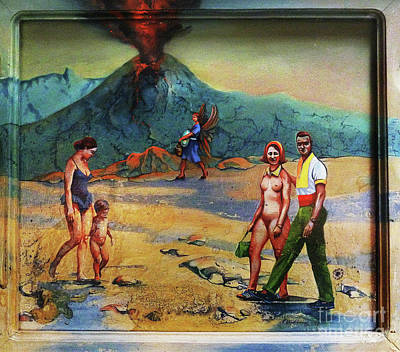 Wall Art - Painting - Woman Dominated By Machismo Before An Erupting Volcanoe by Carole Lindberg
