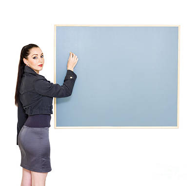 Looking Back Photograph - Woman Drawing Up Business Plan During Meeting by Jorgo Photography - Wall Art Gallery