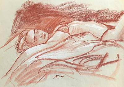 Drawing - Woman Dreaming by Alejandro Lopez-Tasso