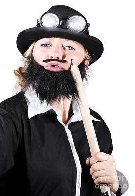 Woman Dressed Like Man With Large Pencil Art Print