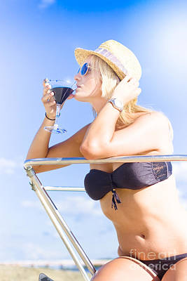 Martini Photos - Woman Drinking Cocktail In Paradise by Jorgo Photography - Wall Art Gallery