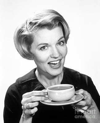 Woman Drinking Coffee, C.1960s Art Print