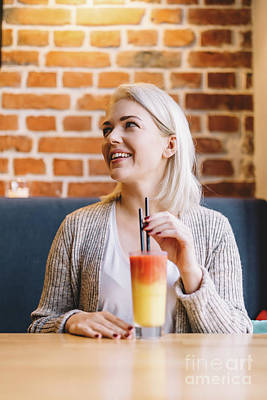 Photograph - Woman Drinking Healthy Refreshing Juice. by Michal Bednarek