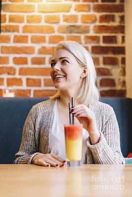 Blondie Photograph - Woman Drinking Healthy Refreshing Juice. by Michal Bednarek