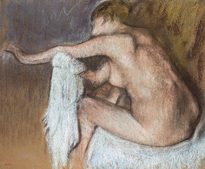 Massage Pastel - Woman Drying Her Arm by Edgar Degas
