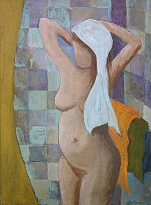 Mixed Media - Woman Drying Her Hair by Don Perino