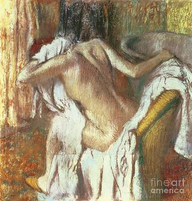 Hair-washing Pastel - Woman Drying Herself by Edgar Degas