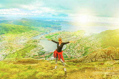 Photograph - Woman Enojoying In Norway by Benny Marty