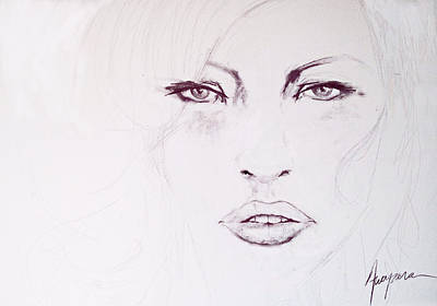 Woman Face Drawing - Woman Face Black And White by Patricia Awapara