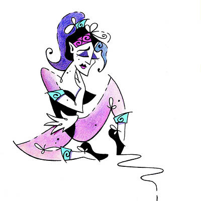 Drawing - Woman Falling In Love - Book Illustration by Arte Venezia