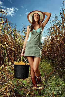 Woman Farmer Carrying A Bucket Of Corn Cobs Art Print by Catalin Petolea