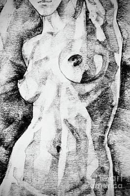 Drawing - Woman Figure Art Drawing Straight Pose by Dimitar Hristov