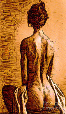 Digital Art - Woman Figure Sepia Sketch by Rafael Salazar