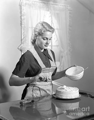 Woman Frosting A Cake, C.1940s Art Print